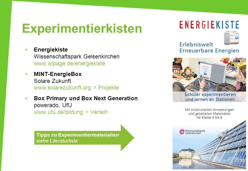 ExperimentierkistenEnergiekiste Wissenschaftspark Gelsenkirchen www.wipage.de/energiekiste.