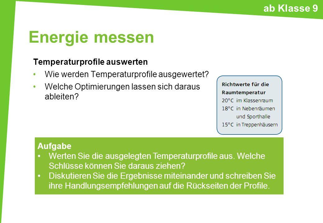 Energie messen ab Klasse 9 Temperaturprofile auswerten