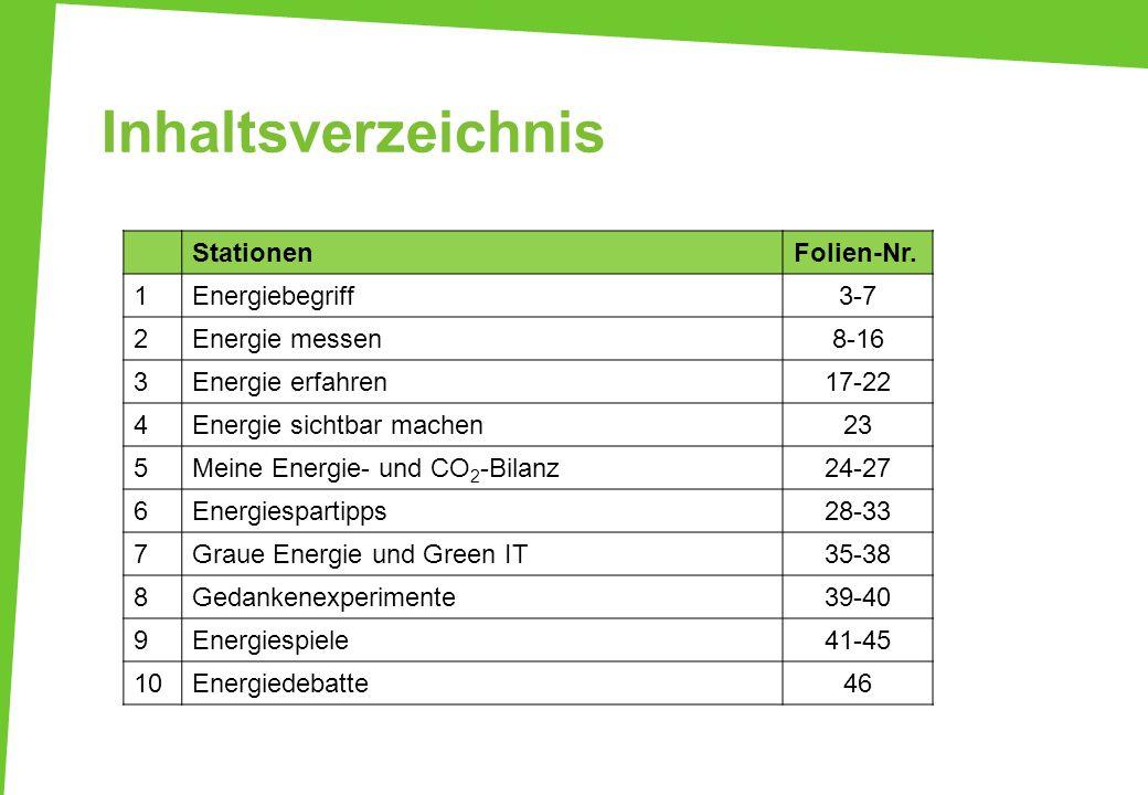 Inhaltsverzeichnis Stationen Folien-Nr. 1 Energiebegriff 3-7 2