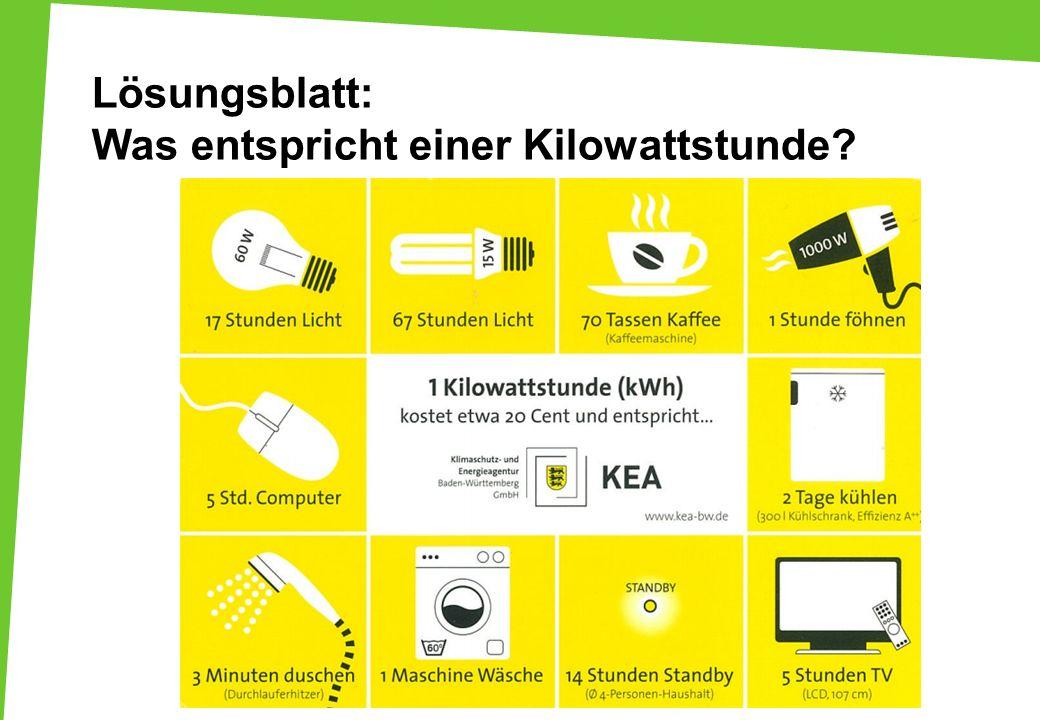 Lösungsblatt: Was entspricht einer Kilowattstunde