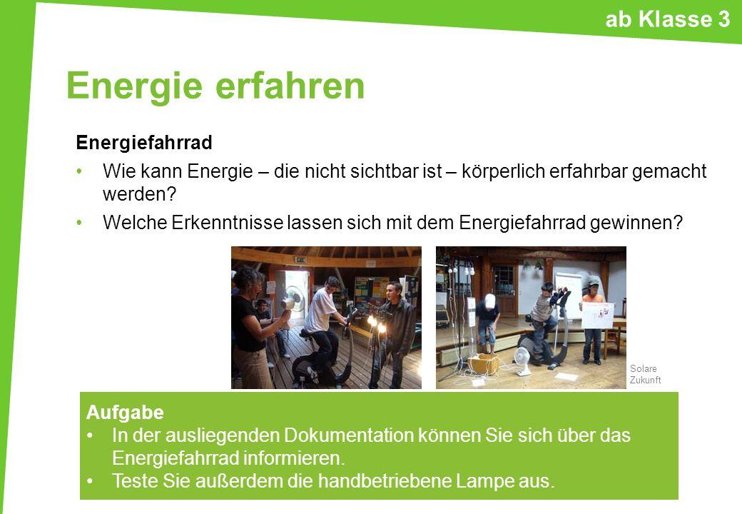 Energie erfahren ab Klasse 3 Energiefahrrad