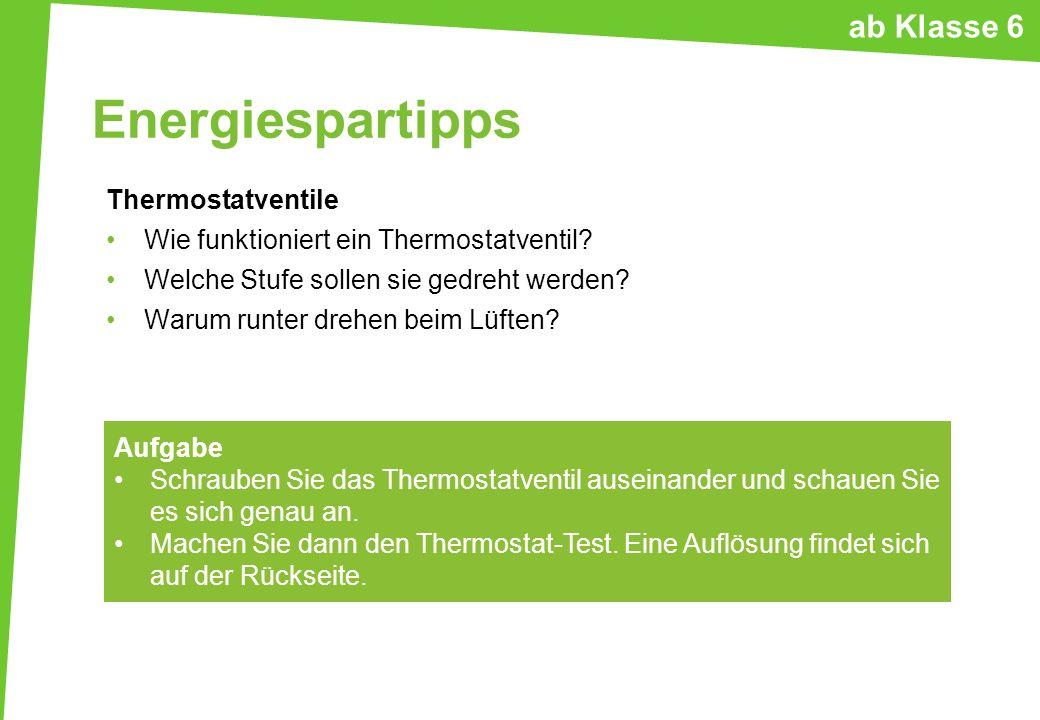 Energiespartipps ab Klasse 6 Thermostatventile
