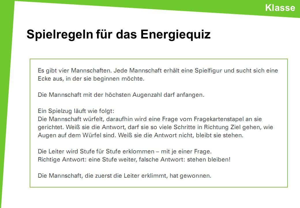 Spielregeln für das Energiequiz
