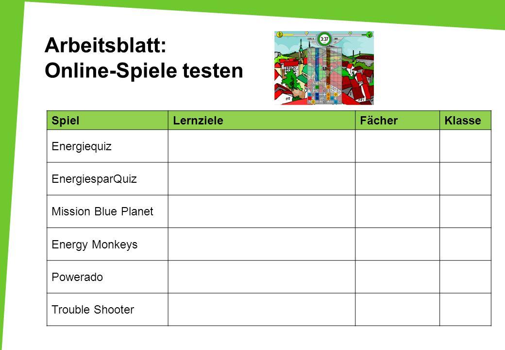Arbeitsblatt: Online-Spiele testen