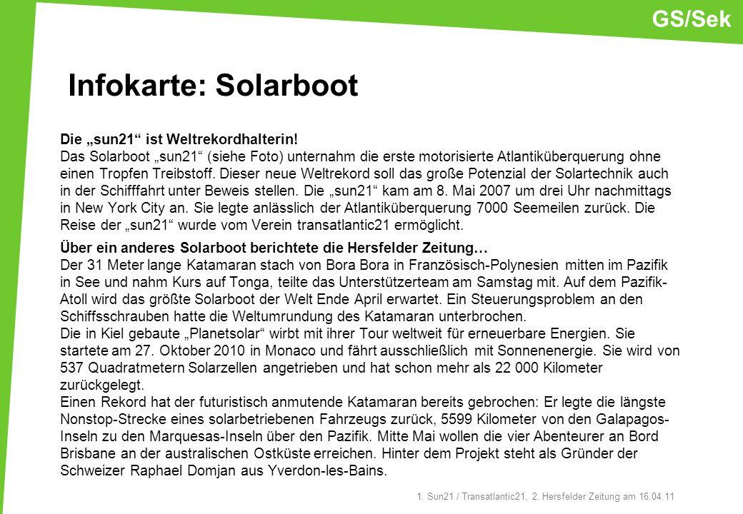 Infokarte: Solarboot GS/Sek