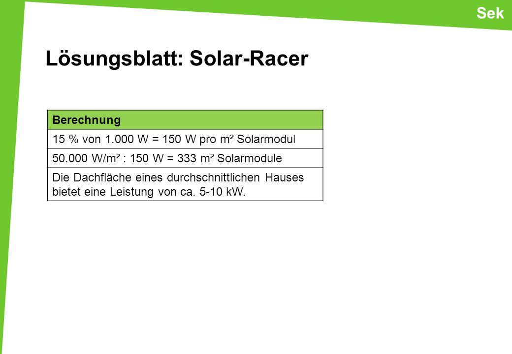 Lösungsblatt: Solar-Racer