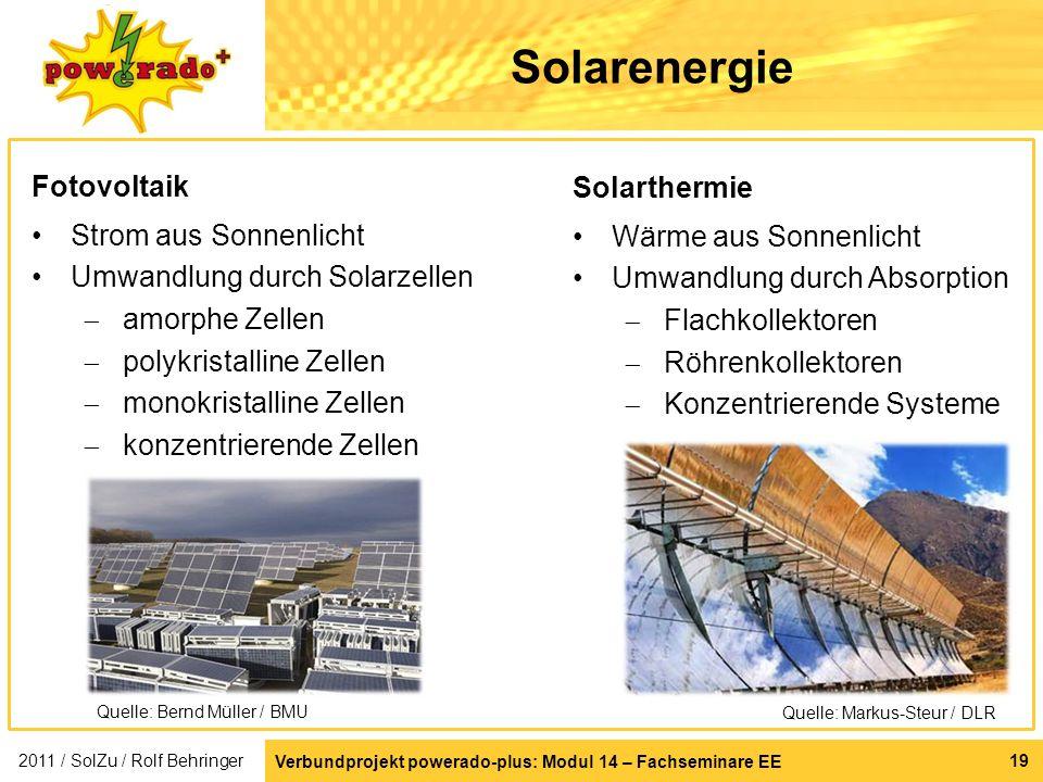 Solarenergie Fotovoltaik Solarthermie Strom aus Sonnenlicht