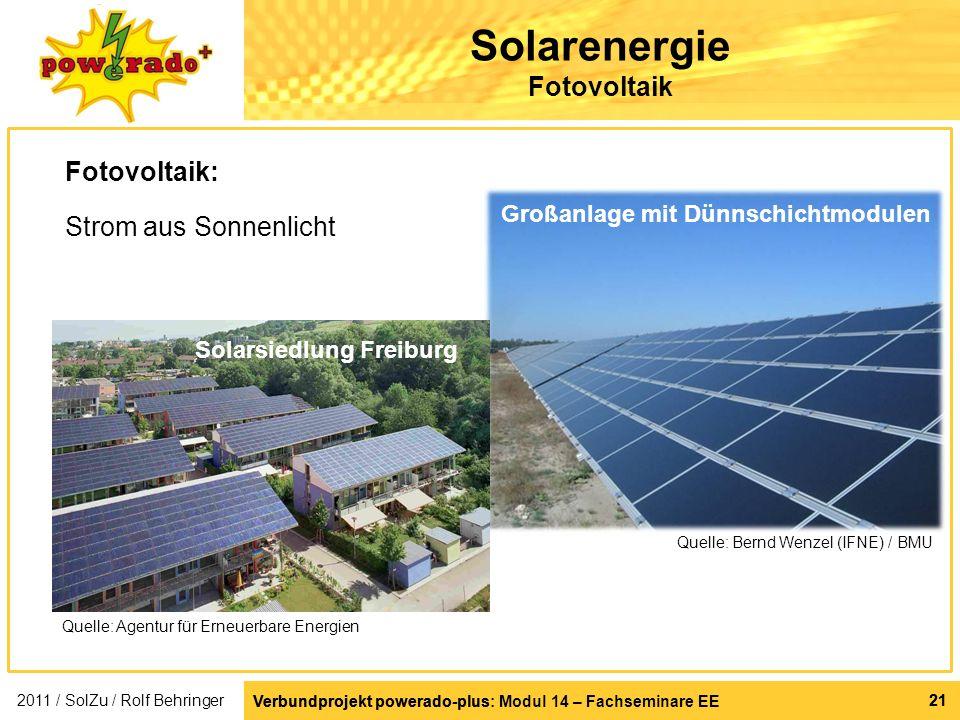 Solarenergie Fotovoltaik