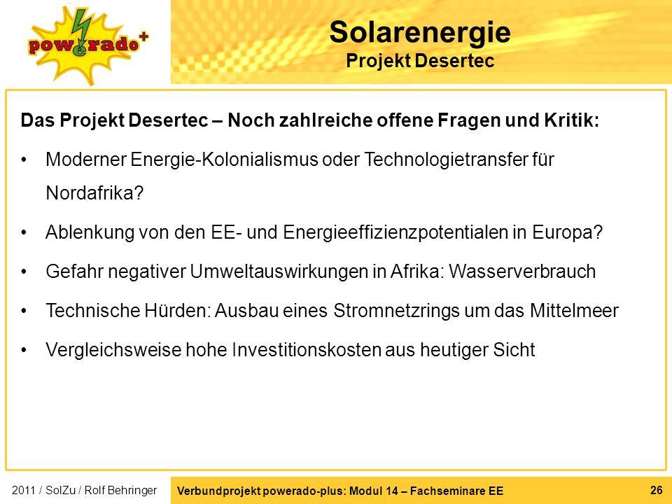 Solarenergie Projekt Desertec