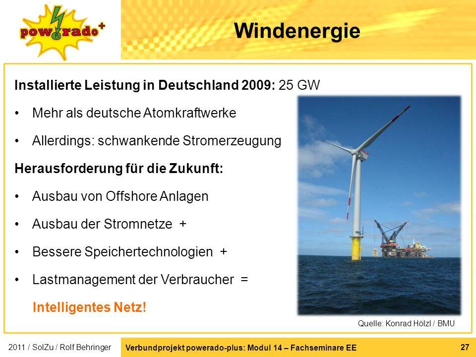 Windenergie Installierte Leistung in Deutschland 2009: 25 GW