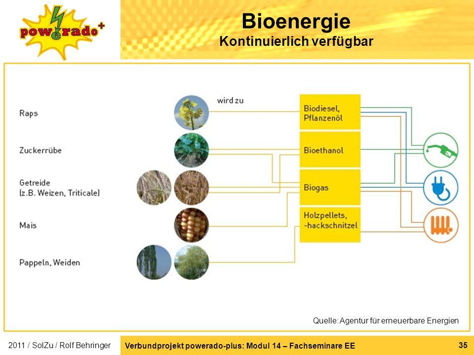 Bioenergie Kontinuierlich verfügbar
