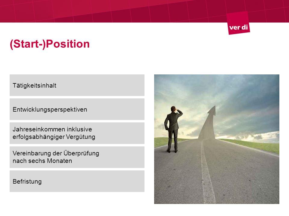 (Start-)Position Tätigkeitsinhalt Entwicklungsperspektiven
