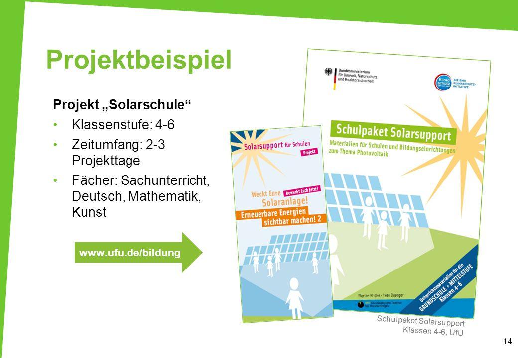 """Projektbeispiel Projekt """"Solarschule Klassenstufe: 4-6"""