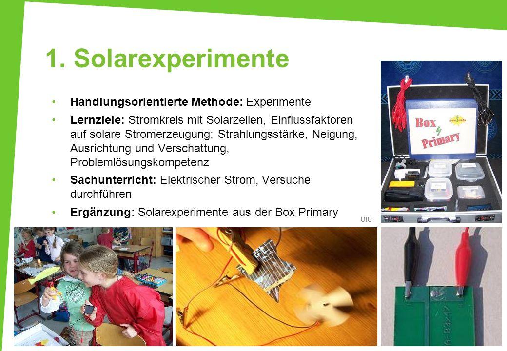 1. Solarexperimente Handlungsorientierte Methode: Experimente