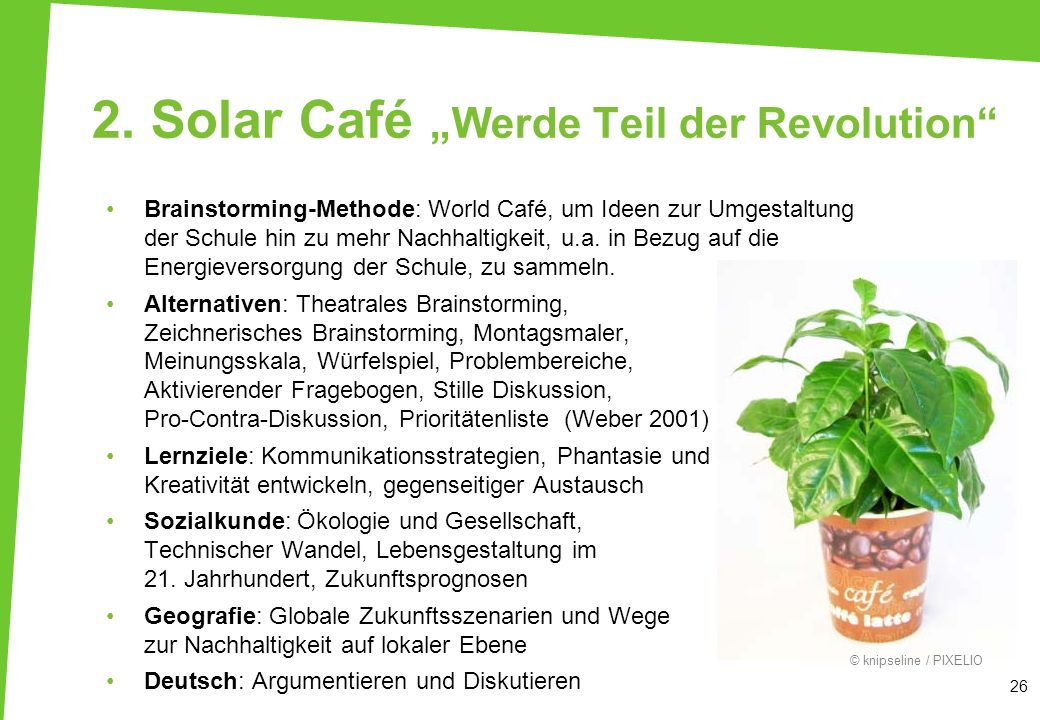 """2. Solar Café """"Werde Teil der Revolution"""