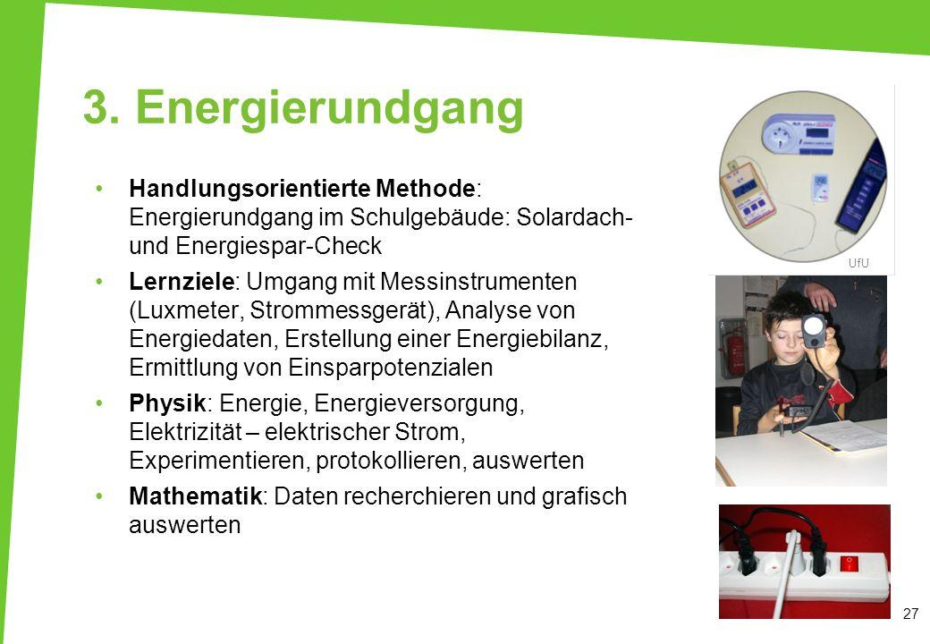 3. Energierundgang Handlungsorientierte Methode: Energierundgang im Schulgebäude: Solardach- und Energiespar-Check.