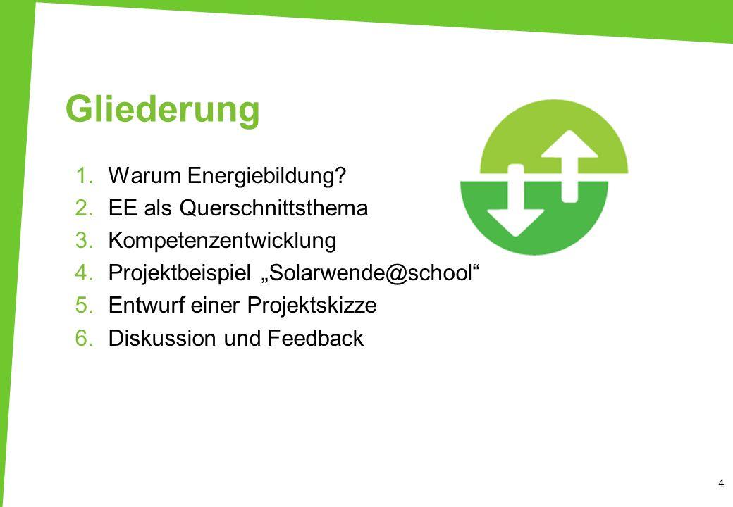 Gliederung Warum Energiebildung EE als Querschnittsthema