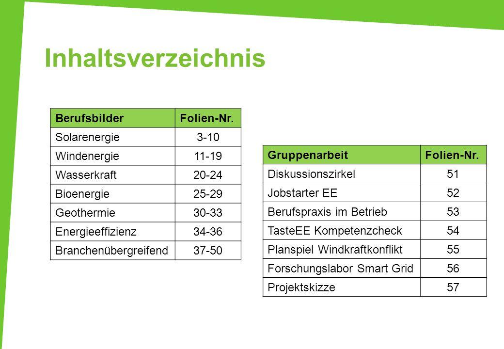 Inhaltsverzeichnis Berufsbilder Folien-Nr. Solarenergie 3-10