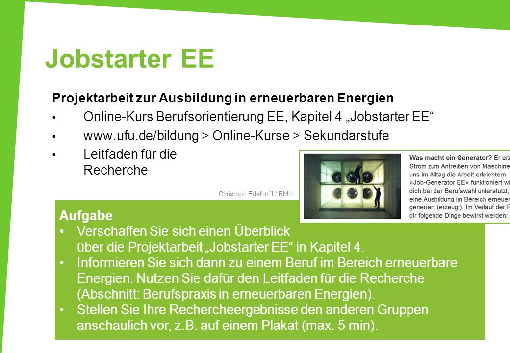 Jobstarter EE Projektarbeit zur Ausbildung in erneuerbaren Energien