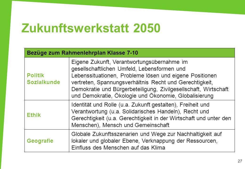 Zukunftswerkstatt 2050Bezüge zum Rahmenlehrplan Klasse 7-10. Politik Sozialkunde.