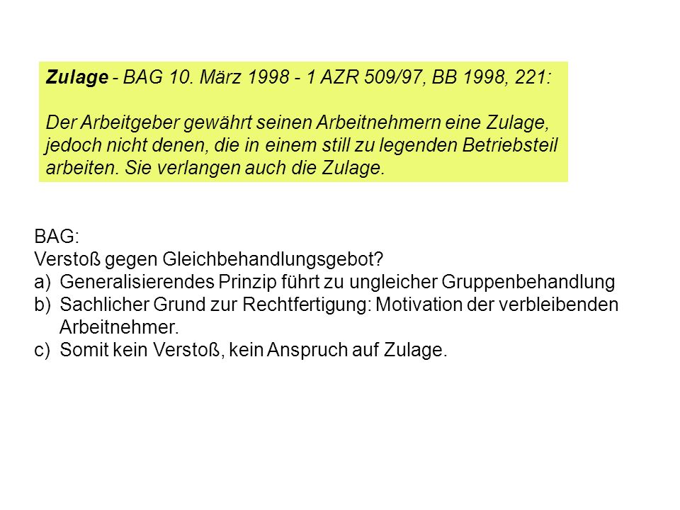 Zulage - BAG 10. März 1998 - 1 AZR 509/97, BB 1998, 221: