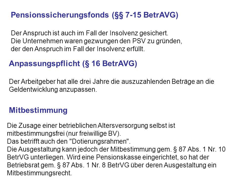 Pensionssicherungsfonds (§§ 7-15 BetrAVG)