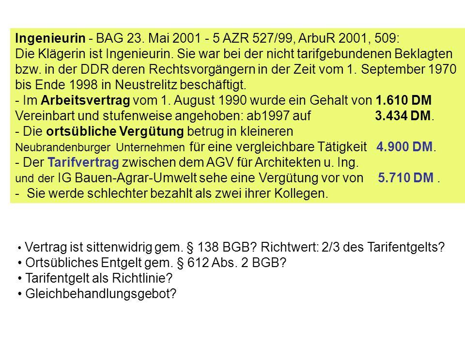 Ingenieurin - BAG 23. Mai 2001 - 5 AZR 527/99, ArbuR 2001, 509: