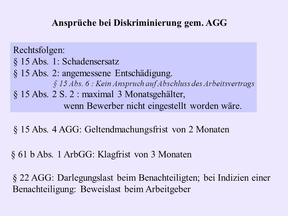 Ansprüche bei Diskriminierung gem. AGG