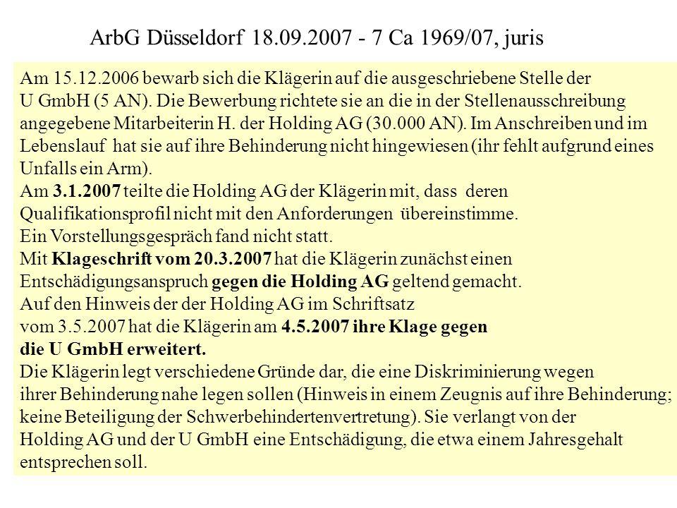 ArbG Düsseldorf 18.09.2007 - 7 Ca 1969/07, juris
