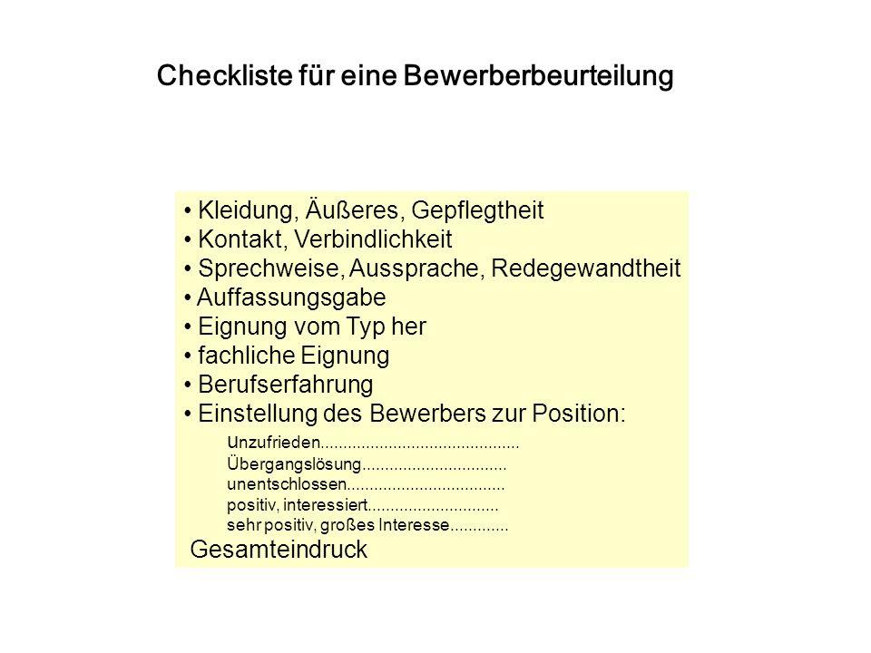 Checkliste für eine Bewerberbeurteilung
