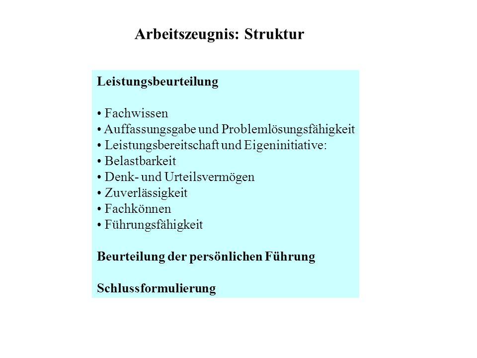 Arbeitszeugnis: Struktur