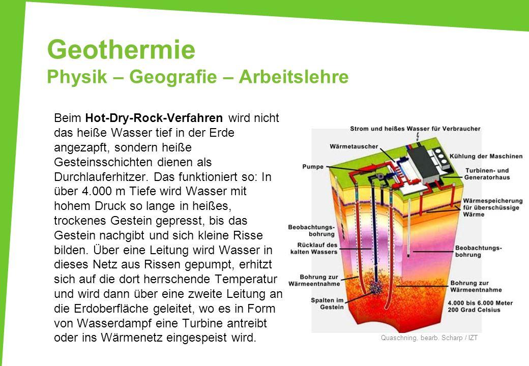 Geothermie Physik – Geografie – Arbeitslehre