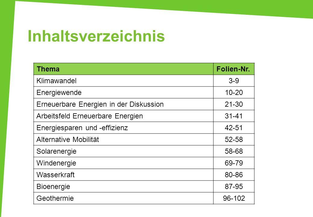 Inhaltsverzeichnis Thema Folien-Nr. Klimawandel 3-9 Energiewende 10-20
