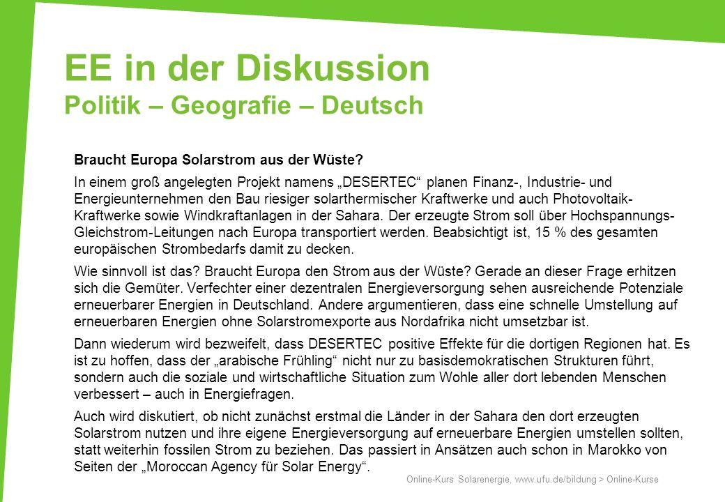 EE in der Diskussion Politik – Geografie – Deutsch