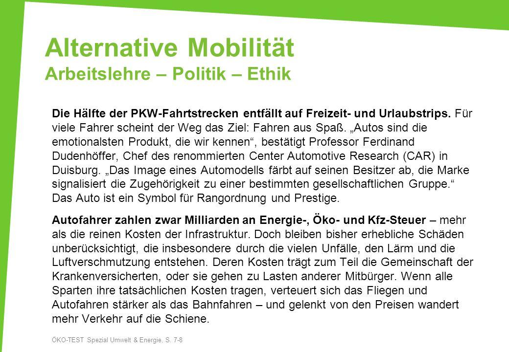 Alternative Mobilität Arbeitslehre – Politik – Ethik