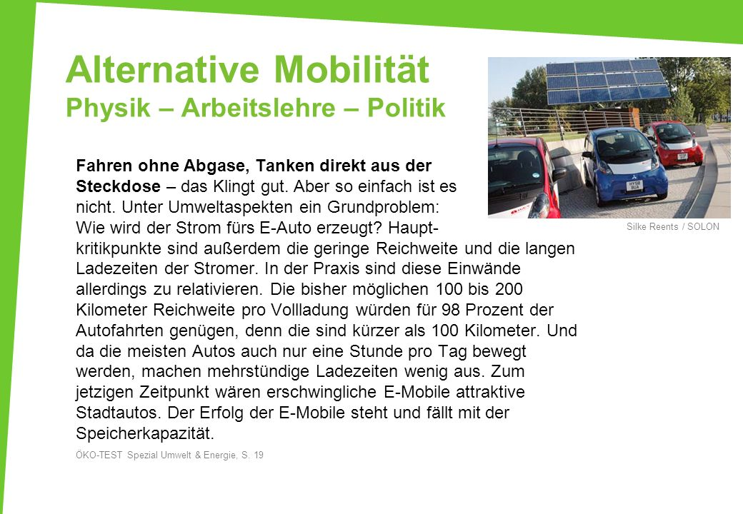 Alternative Mobilität Physik – Arbeitslehre – Politik