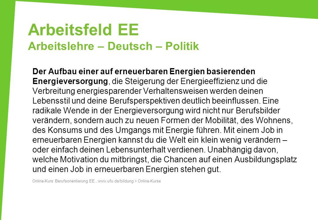 Arbeitsfeld EE Arbeitslehre – Deutsch – Politik