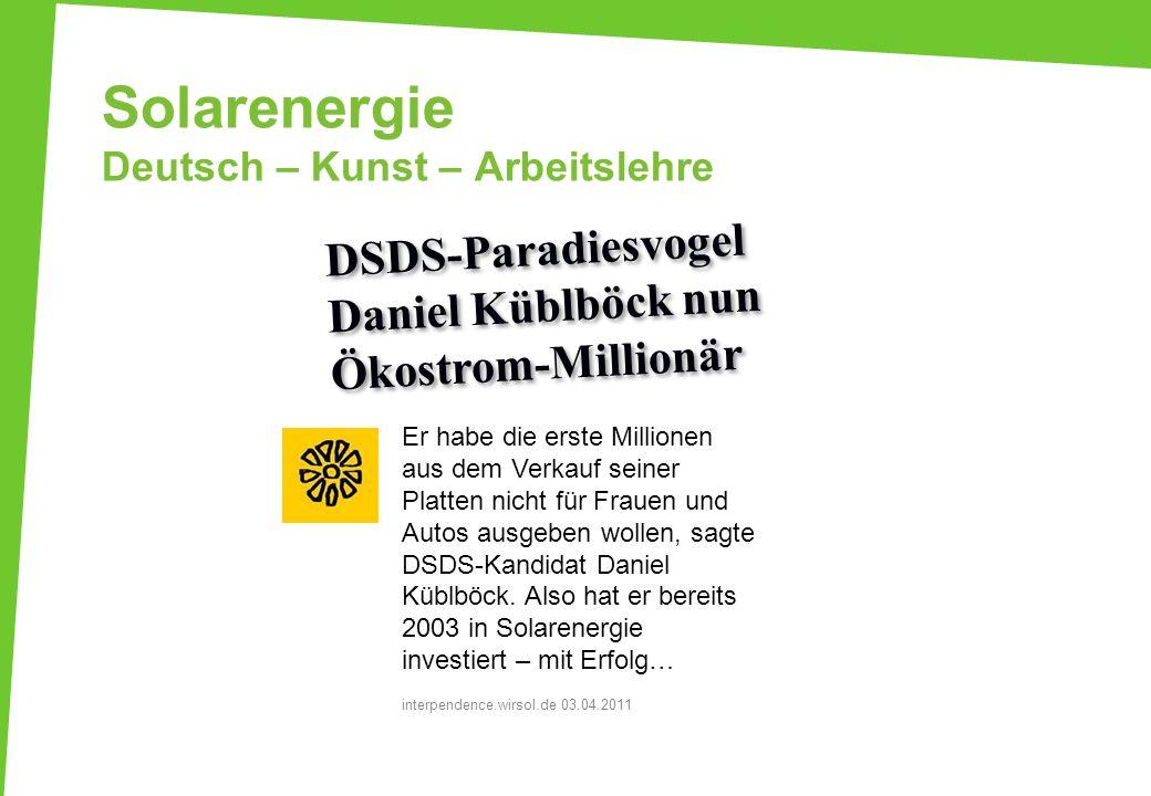 Solarenergie Deutsch – Kunst – Arbeitslehre