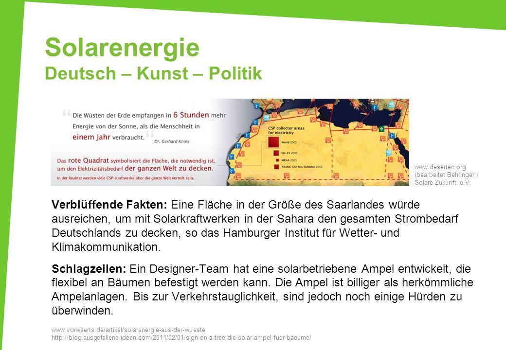 Solarenergie Deutsch – Kunst – Politik