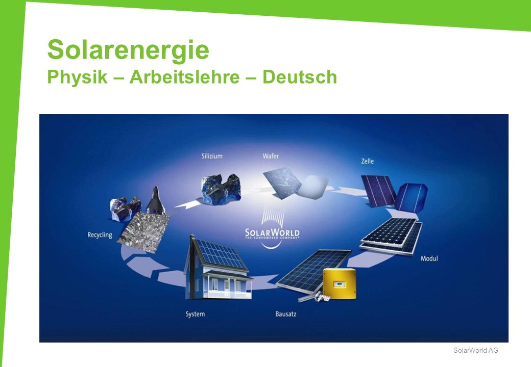 Solarenergie Physik – Arbeitslehre – Deutsch
