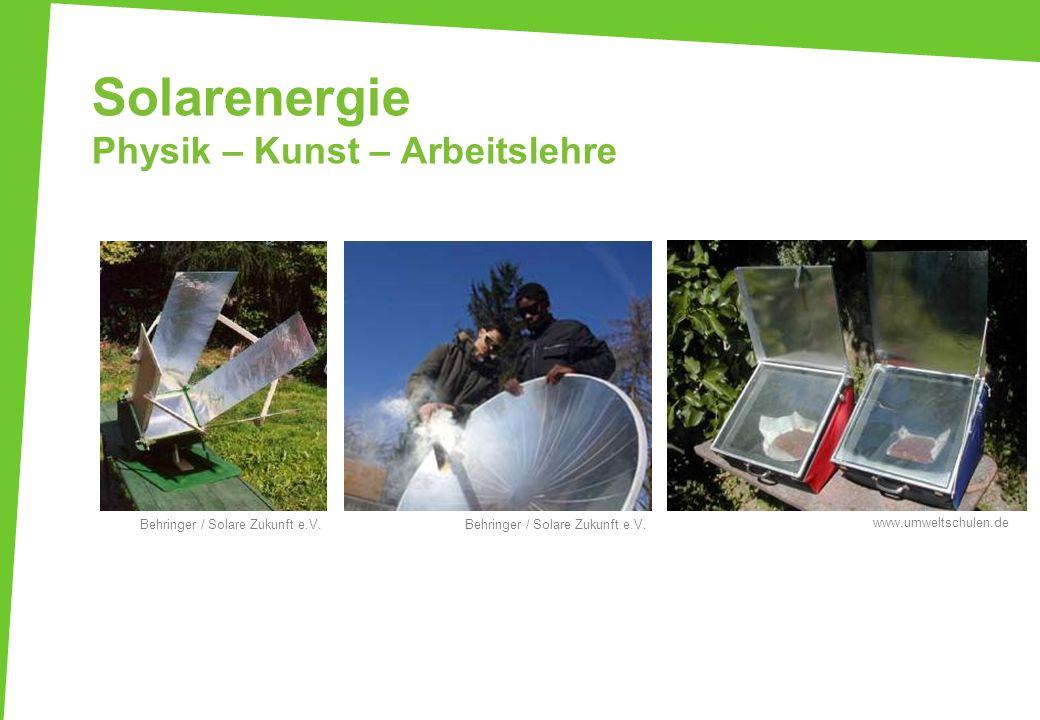 Solarenergie Physik – Kunst – Arbeitslehre