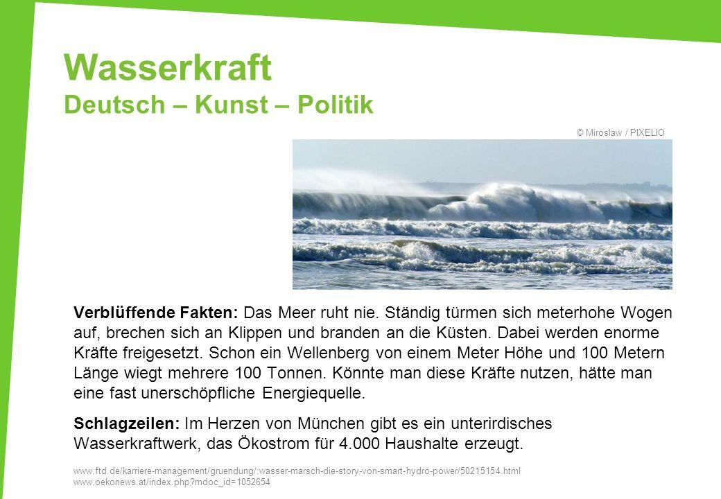 Wasserkraft Deutsch – Kunst – Politik