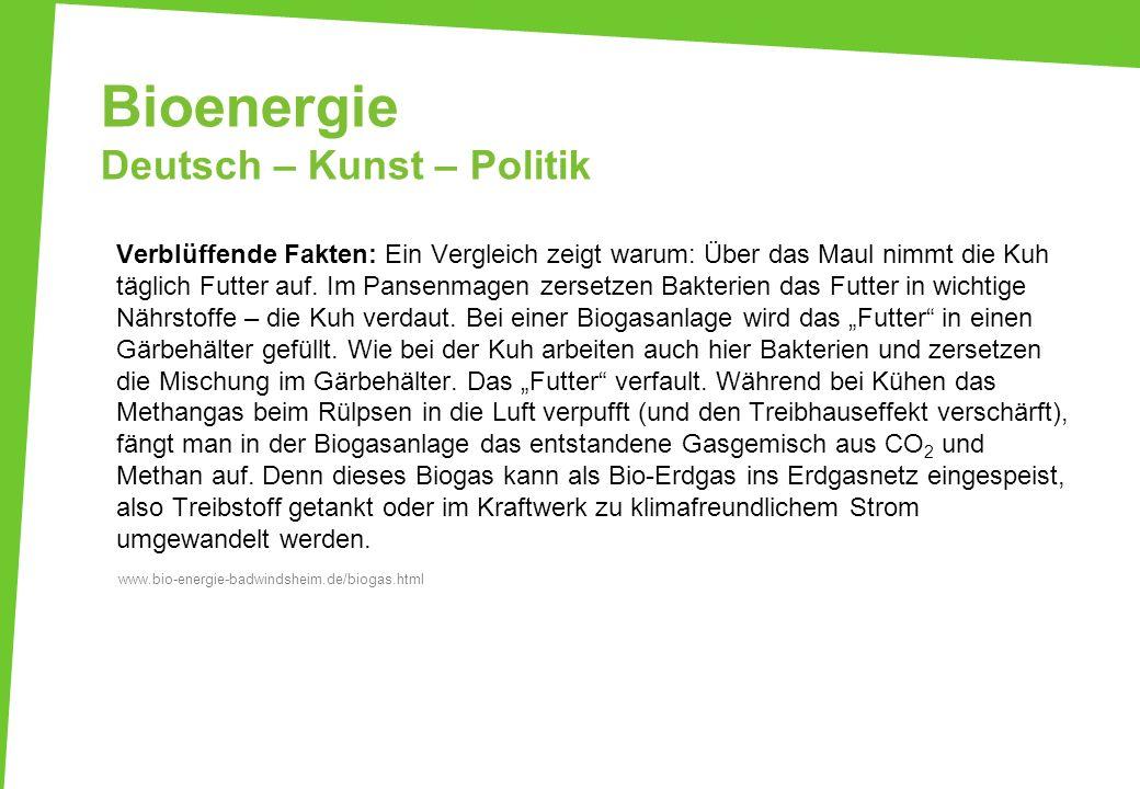 Bioenergie Deutsch – Kunst – Politik