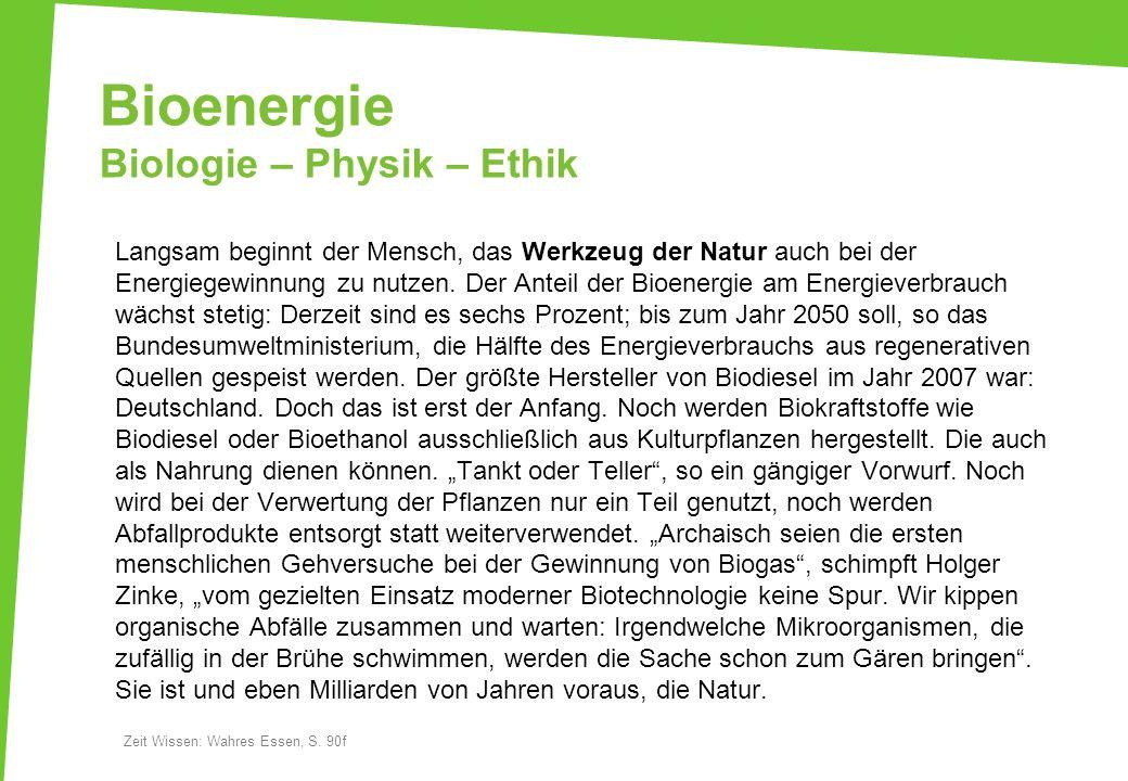 Bioenergie Biologie – Physik – Ethik