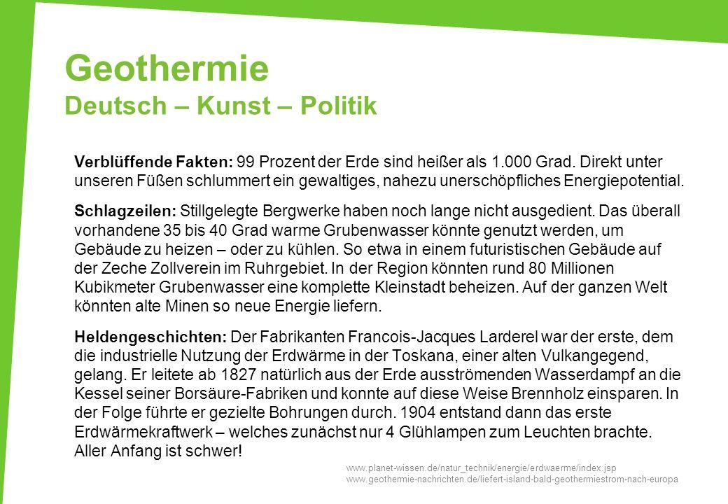 Geothermie Deutsch – Kunst – Politik
