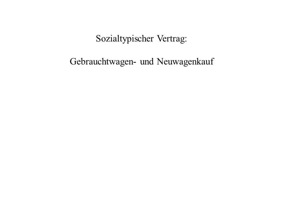 Sozialtypischer Vertrag: Gebrauchtwagen- und Neuwagenkauf
