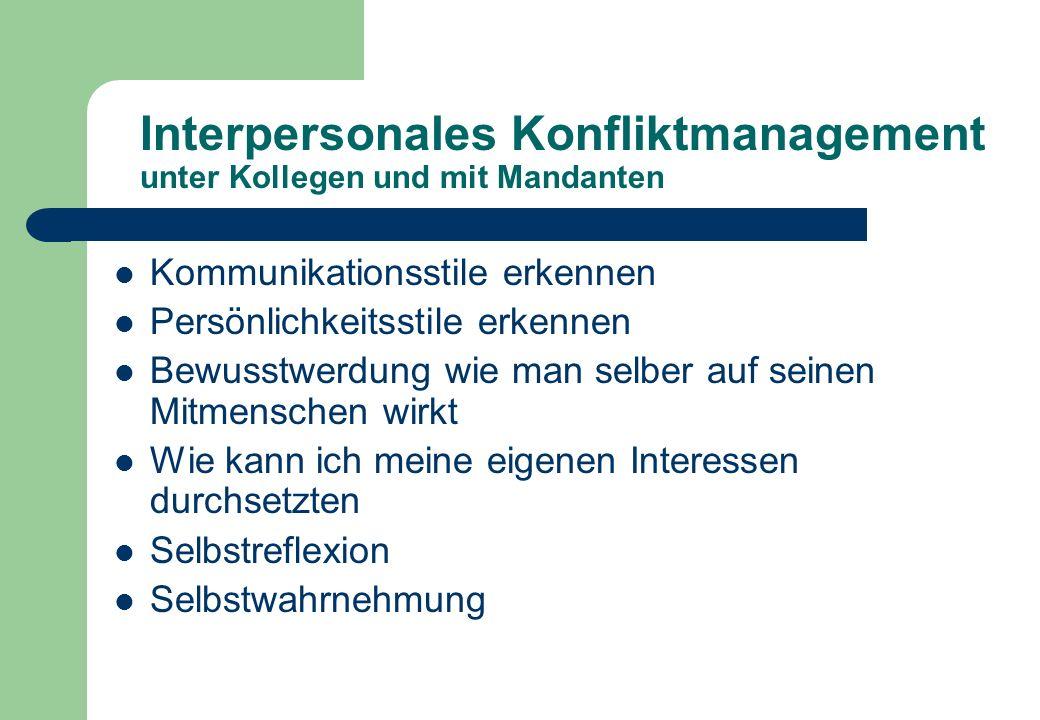 Interpersonales Konfliktmanagement unter Kollegen und mit Mandanten