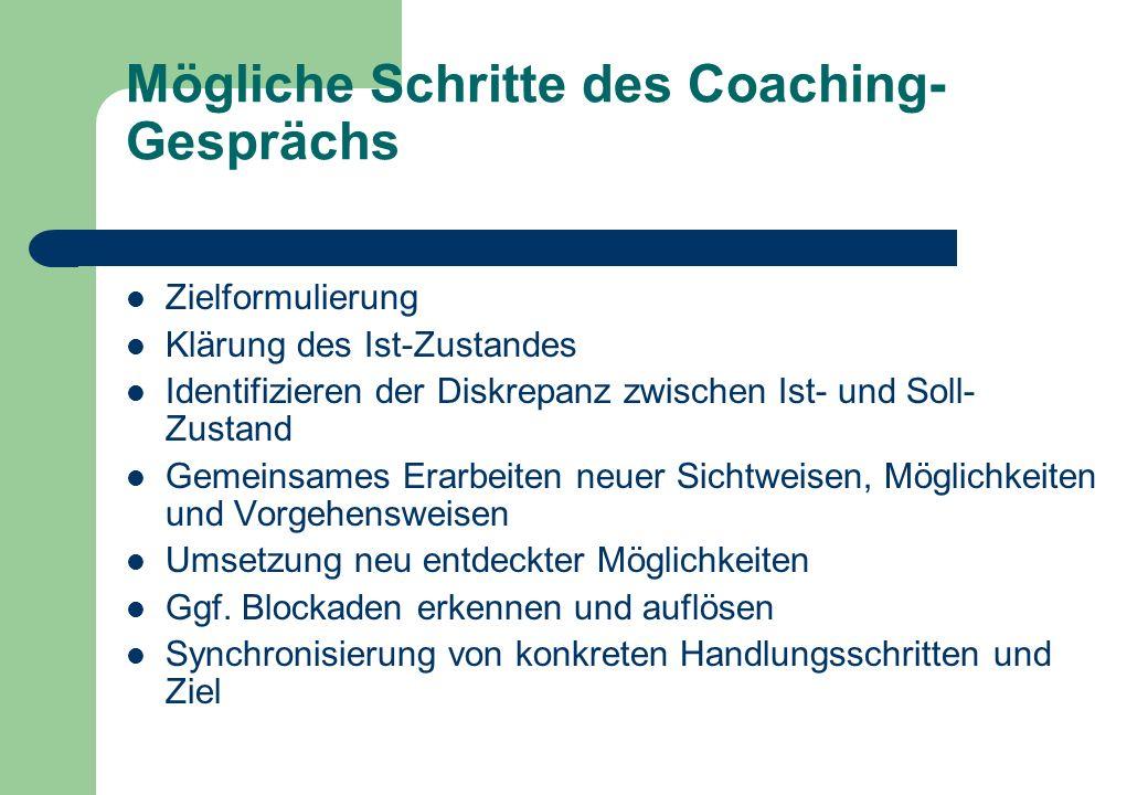 Mögliche Schritte des Coaching-Gesprächs