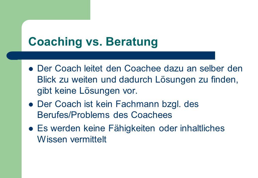 Coaching vs. Beratung Der Coach leitet den Coachee dazu an selber den Blick zu weiten und dadurch Lösungen zu finden, gibt keine Lösungen vor.