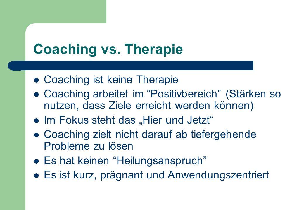 Coaching vs. Therapie Coaching ist keine Therapie